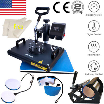 5 In 1 Heat Press Machine Swing Away Sublimation Transfer T-shirt Mug Hat Plate