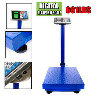 Electronic Digital Weight Computing Floor Platform Scale Postal Shipping 660lbs