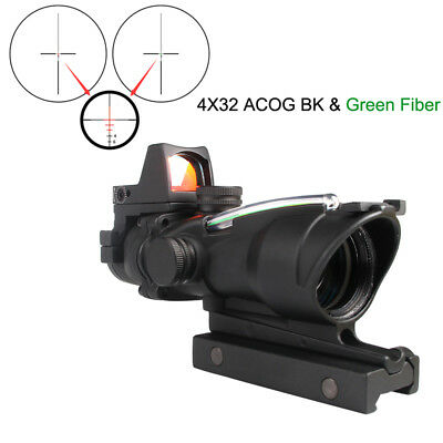 Rifle Scope ACOG 4X32 Green Red Fiber Sight Scope with Mini Red Dot Sight
