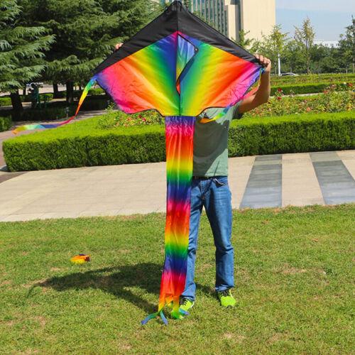 New 1pc Gradient Rainbow Kite Travel Park Family Outdoor Gam