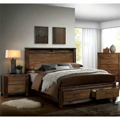 Furniture of America Nangetti Rustic 2 Piece Queen Bedroom Set in Oak ()