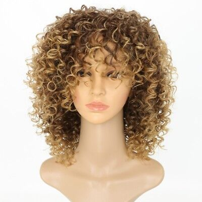 Blonde verworrene lockige Perücke Afro weiche synthetische Perücke Mode #DE06