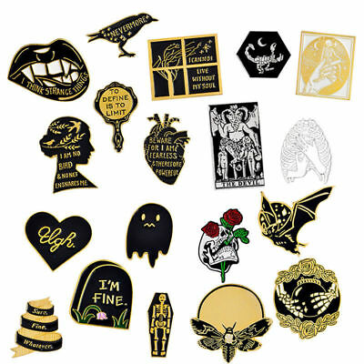 (Death Pin Badge Satan Creep Ghost Skeleton Demon Goth Witch Brooch Lapel Pins)