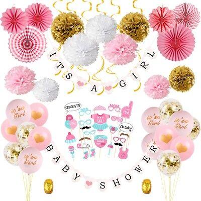 64PCS/Set Baby Shower Tissue Paper Pom Poms Banner Balloon Decoration for a Girl](Baby Shower Balloons For Girls)