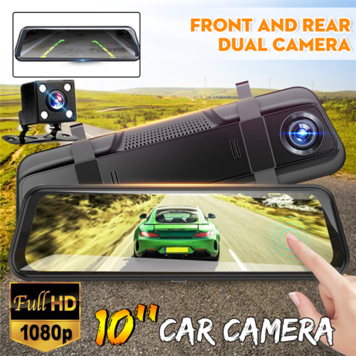 10'' 1080P Car Vehicle Dual Lens FHD Dash Cam DVR Rearview M