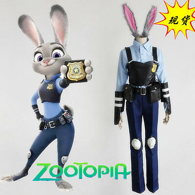Zootopia Rabbit Bunny Officer Judy Hopps Cosplay Costume Police Uniform +Ears](Officer Judy)