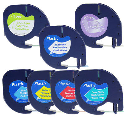 Compatible Dymo Paper Plastic Letratag Refill Label Tape 12 7pk 16952 91331