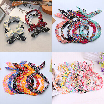 Women Cute Bow Rabbit Bunny Ear Ribbon Hair Band Wire Twisted Headband Head Wrap (Bunny Head Band)