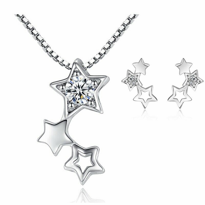 Jewellery - 925 Sterling Silver Triple Star Chain Necklace Stud Earrings Womens Jewellery UK