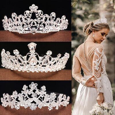 Wedding Bridal Princess Crystal Prom Hair Tiara Crown Veil Headband with Comb ](Tiara Veil)