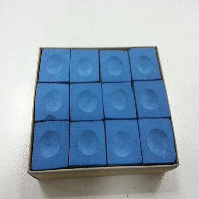 One Dozen (12 pieces) BLUE Chalk Billiard Pool Table Multicolor   PM
