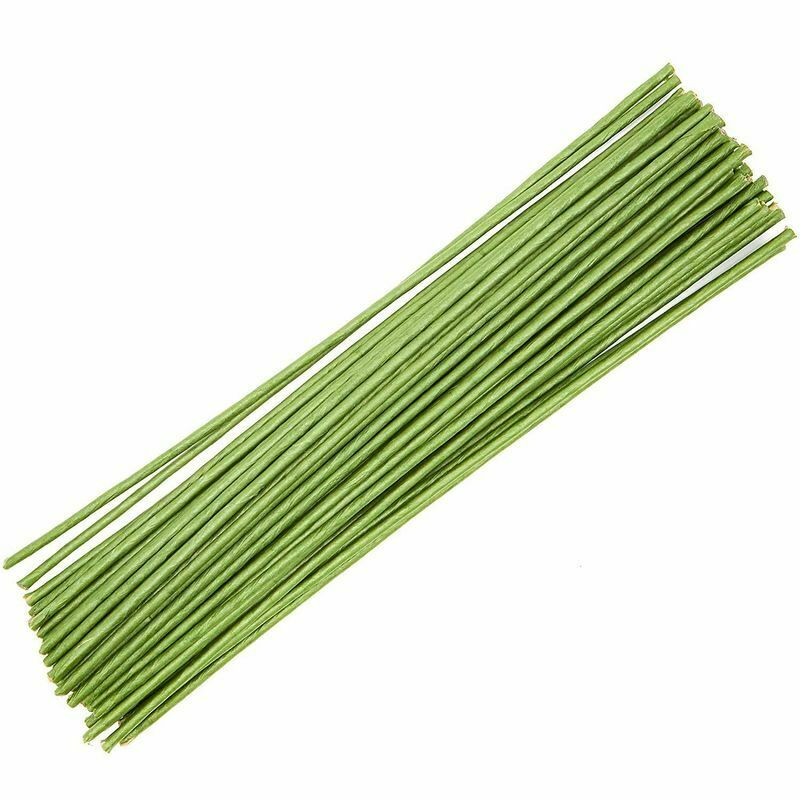 """50x Floral Flower Wire Stems, Wrapped 6 Gauge for DIY Crafts Wedding Green 16"""""""