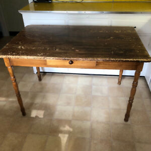 Old rustic farm table with drawer, removable legs