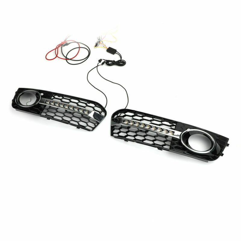 Flowing LED Honeycomb Mesh Grille Fog Light Turn Signal