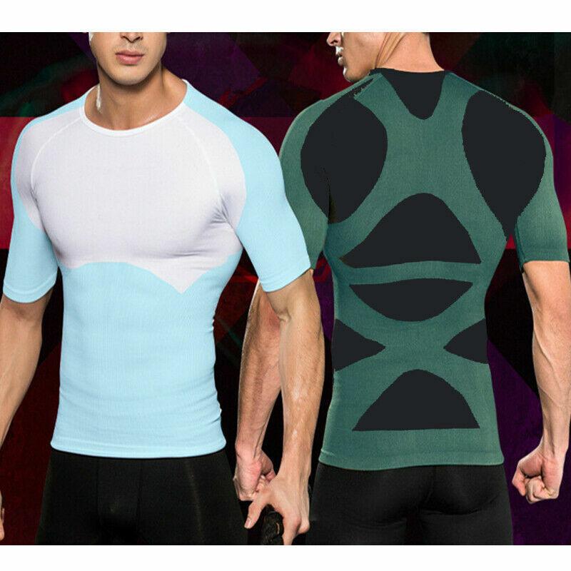 Men Undershirt Muscle Body Shaper Posture Slimming Vest Corr