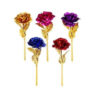 24K Gold Plated Rose Flower Valentines Day Gift Birthday Romantic Golden Flower