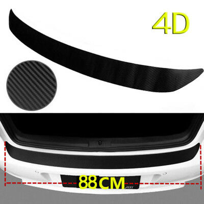 4D Carbon Fiber Auto Rear Bumper Trunk Tail Lips Protection Car Decal Sticker