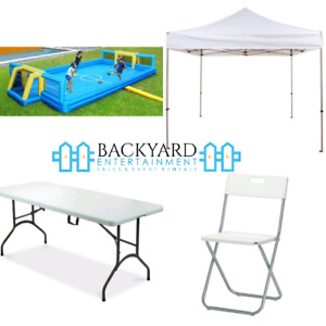 TENTS/ TABLES/ CHAIRS/ INFLATABLE GAMES/ RENTALS