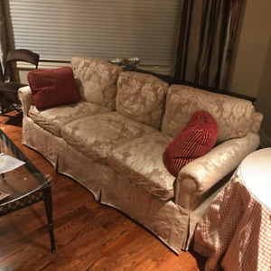 Set/2 Contemporary Designer Sofa+Love Seat Combo w/ Throw Pillow