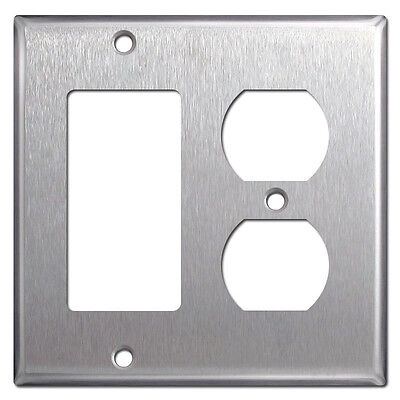 Gfci Metal Wall Plate - 2-Gang GFCI Decorator / Duplex Stainless Steel Combo Metal Wall Plate Cover