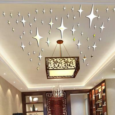 50x Stars Mirror Glass Tile Wall Stickers Decal Decor Stick On Modern S3