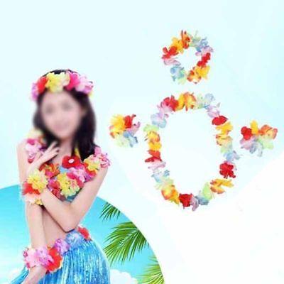 4Pcs/set Hawaiian Flower Necklace Headband Garland Fancy Dress Party Hawaii Top