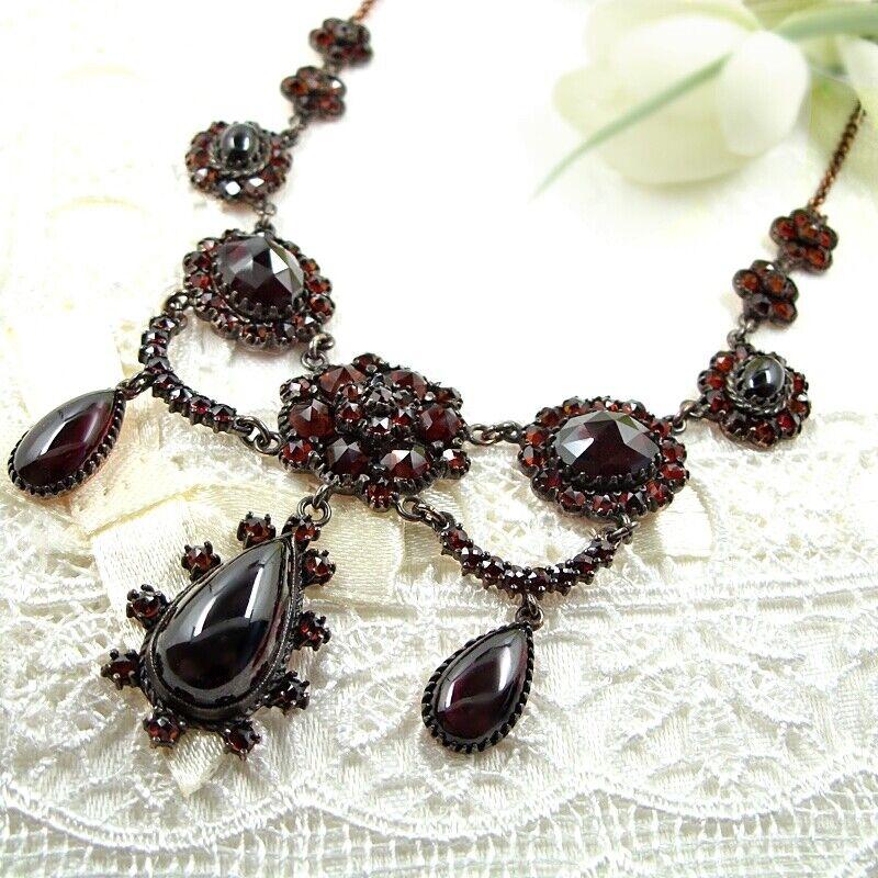 Bodacious Vintage garnet festoon necklace Victorian style ГРАНАТ 200823x ZTCL