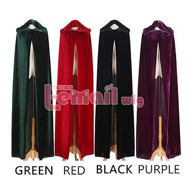 Samt Umhang mit Kapuze girls wicca robe mittelalterlichen Hexen larp cape - Wicca Hexe Kostüm