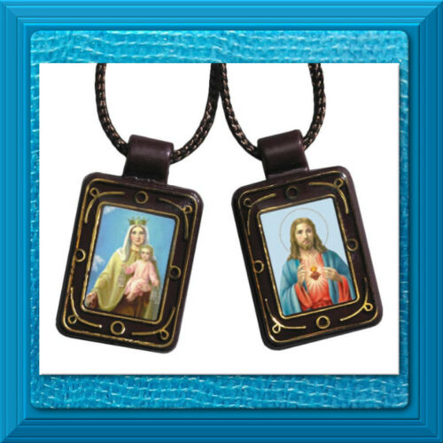 Catholic BROWN Sacred Heart Our Lady of Mount Mt Carmel Moulded Scapular DURABLE