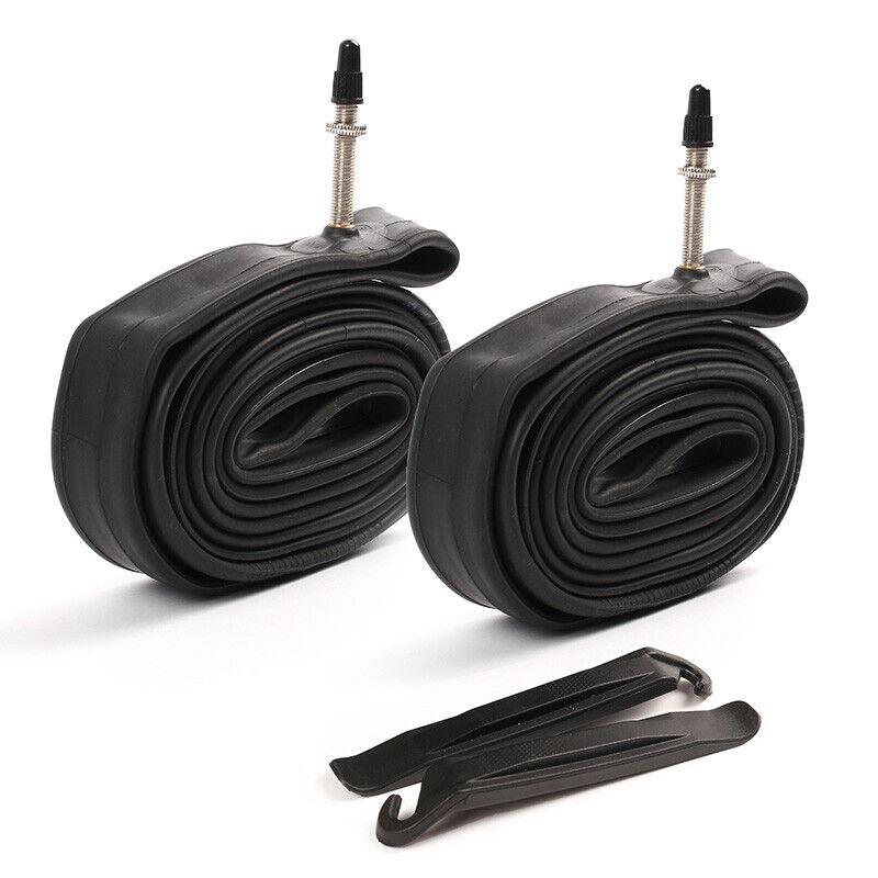2PCS 28 700x23-25c Bicycle Inner Tubes - 80mm Long Presta Valve w/2 Tire Levers