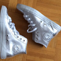 Converse Silver High Tops (size 9)