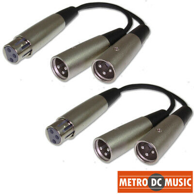 2-Pack XLR Female to Dual XLR Male Splitter Y Cable Adapter Converter Cord MDM Xlr Female Y Cable
