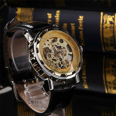 Classic Mens Gold Dial Skeleton Black Leather Mechanical Sport Army Wrist Watch