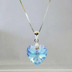 Sterling-Silver-Necklace-Aqua-Blue-AB-Heart-Pendant-w-Swarovski-Elements-Crystal
