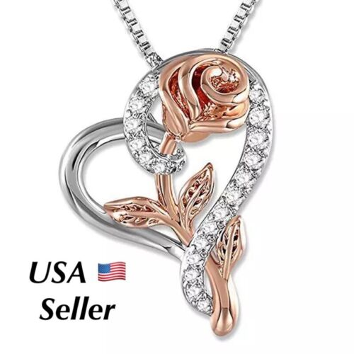 Jewellery - Mother's Day Gifts Silver Rose Flower in Heart Pendant Necklace N175 Mom Wife
