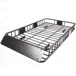 "Universal Black Roof Rack Cargo Basket for Car Top (64"")"