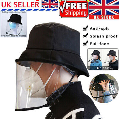 Fisherman Hat Protective Clear Mask Saliva-proof Dust-proof Face Shield Cap UK