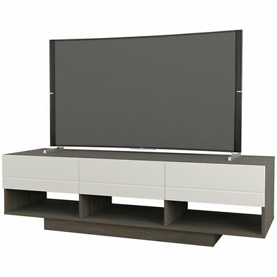 Nexera 105148 Rustik TV Stand 60-inch Bark Grey and White ()