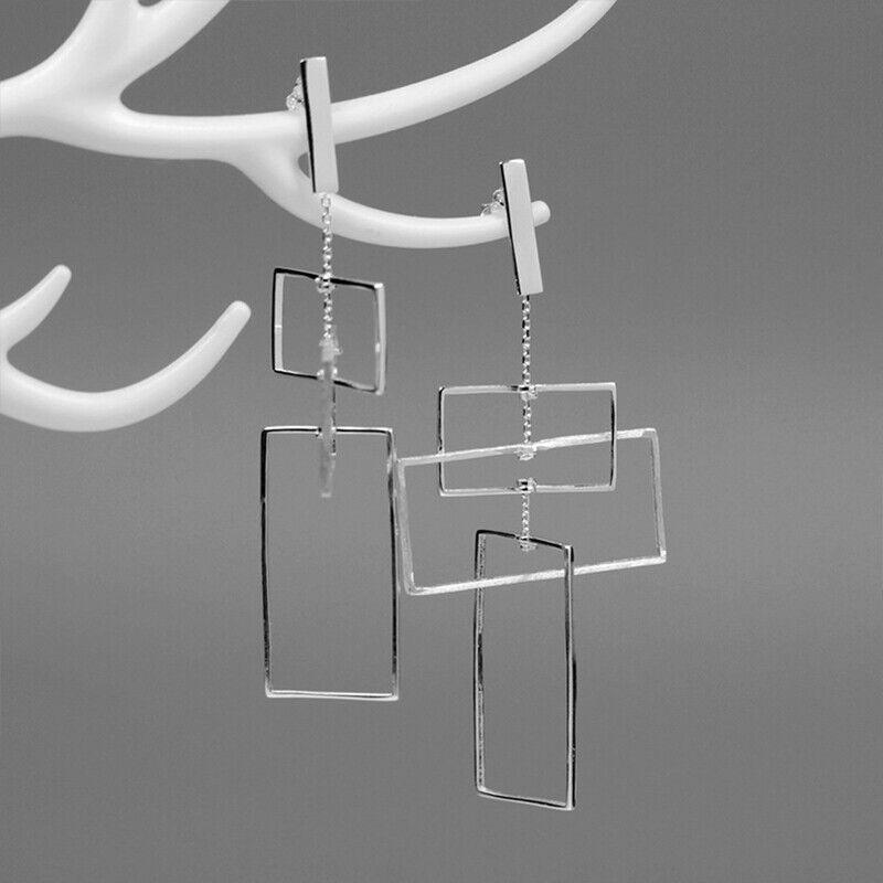 Solid 925 Sterling Silver Fine Jewelry Rectangle Long Drop Earrings for Women