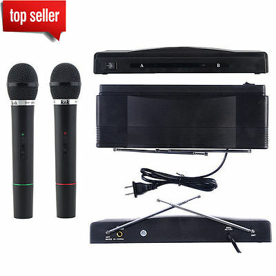 PRO WIRELESS MICROPHONE SYSTEM AUDIO HANDHELD 2 x MIC CORDLESS RECEIVER NEW