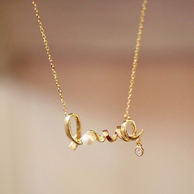 New Hot Fashion Girls Beautiful Gold Love Letter Pendant Chain Necklace Al015