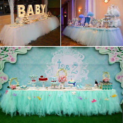 Tulle Tutu Table Skirt For Wedding Party Birthday Baby Shower Home Desk Decor AM - Party Decorations Baby Shower