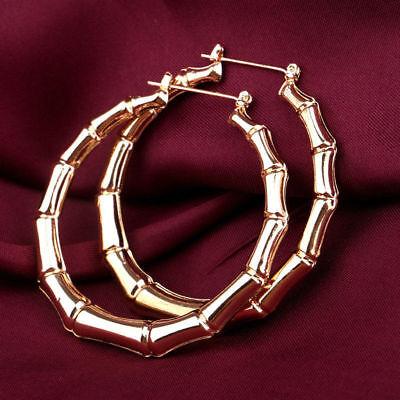 Vintage Women Gold Bamboo Big Hoop Large Round Circle Earrings Jewelry US Seller