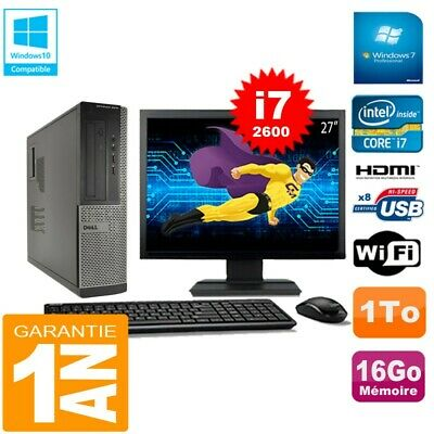 PC DELL 3010 DT Core I7-2600 Ram 16Go Disque 1 To Wifi W7 Ecran 27