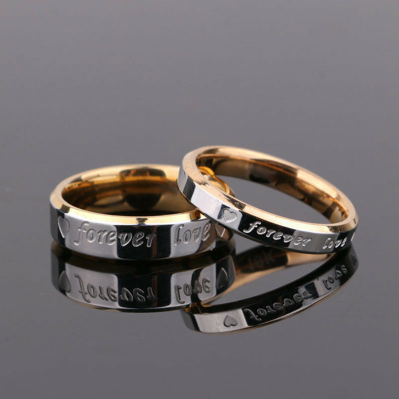 "Fashion Couple Titanium Steel Promise Ring Fit Wedding""Forev"