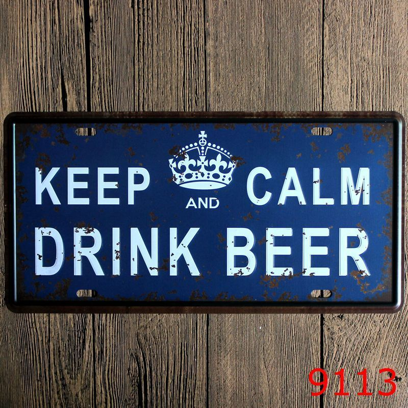 Metal Tin Sign keep calm and drink beer Decor Bar Pub Home Vintage Retro Poster
