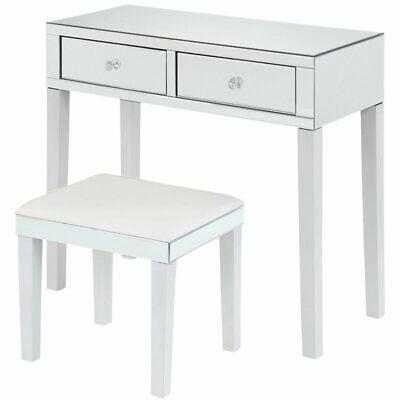 Caleb Mirrored White Vanity Set - 2 Drawers - 2 Piece Set