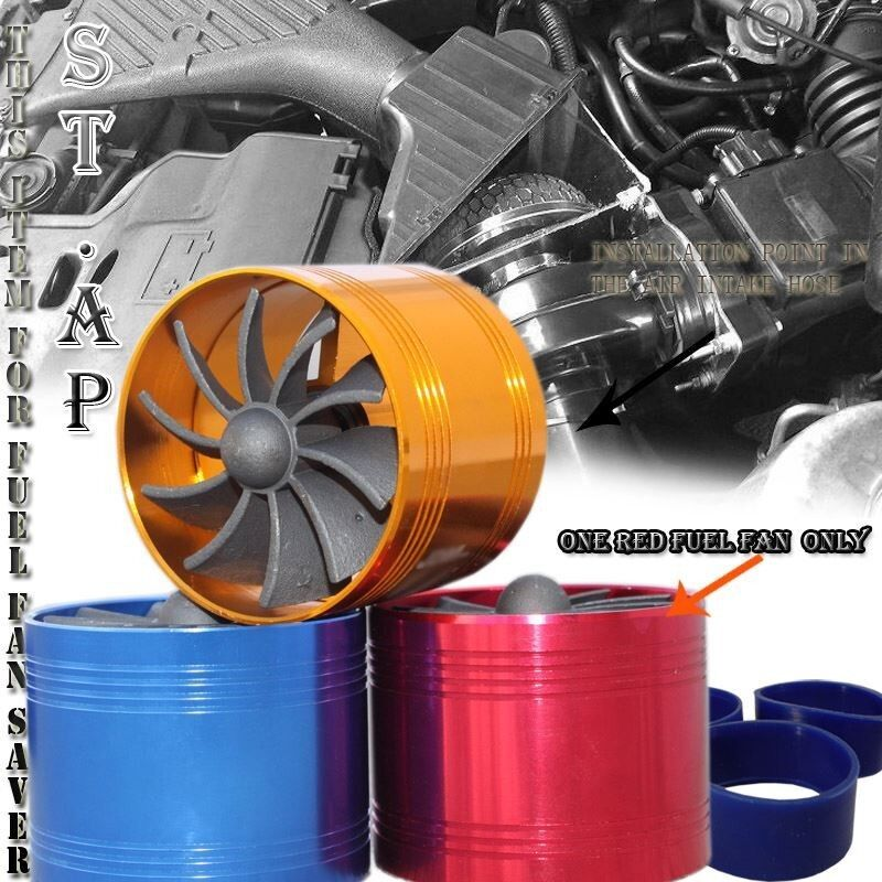 "2.5/"" Tornado Turbonator Intake New Single Fan Gas Fuel Saver Supercharger Gold"