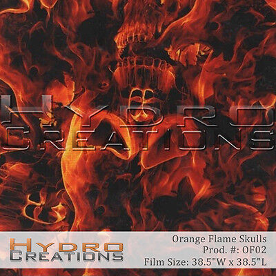 Hydrographic Film For Hydro Dipping Water Transfer Film Orange Flame Skulls