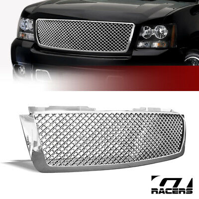 For 2007-2014 Avalanche/Tahoe/Suburban Chrome Mesh Front Bumper Grille Guard 1P